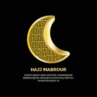Hajj mabrour avec fond de décoration de lune islamique