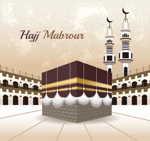 Hajj mabrur célébration avec mosquée scène vector illustration design