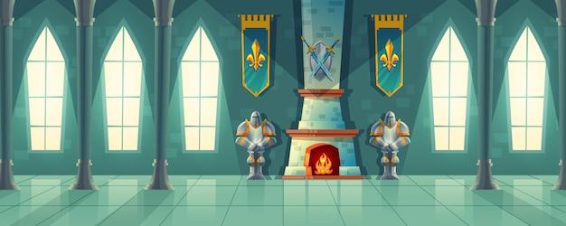 Hall du château, intérieur de la salle de bal royale avec cheminée, armure de chevalier, drapeaux pour danser.