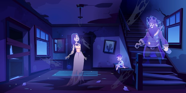 Hall de la maison abandonnée avec des fantômes marchent dans l'obscurité