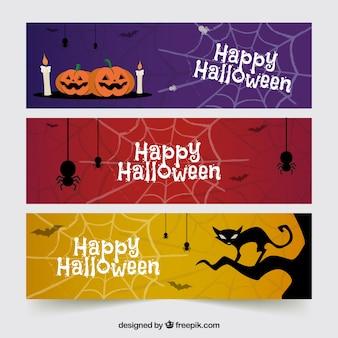 Halloweeen bannières avec des éléments effrayants