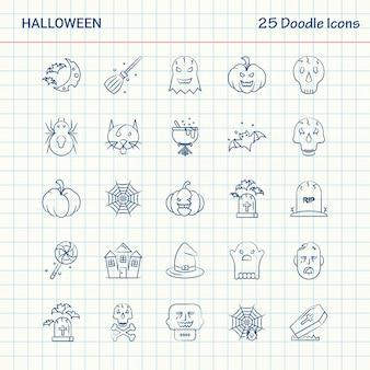 Halloween 25 icônes de doodle