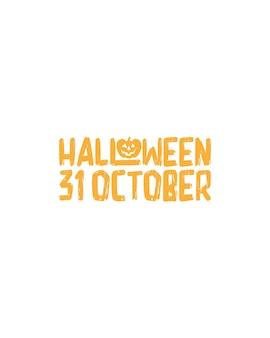 Halloween 31 octobre. typographie dessinée à la main