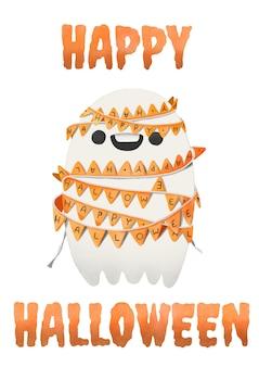 Halloween, aquarelle fantôme lié à des drapeaux de fête.