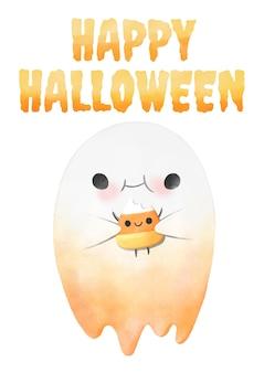 Halloween, aquarelle fantôme mangeant du maïs sucré.