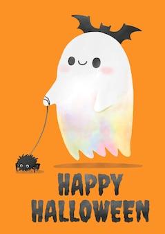 Halloween, aquarelle fantôme promenant l'araignée.