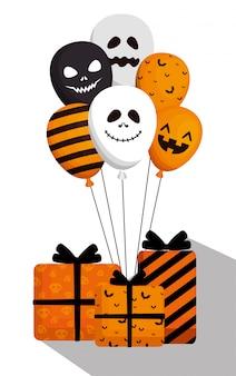 Halloween avec des ballons à l'hélium et des cadeaux