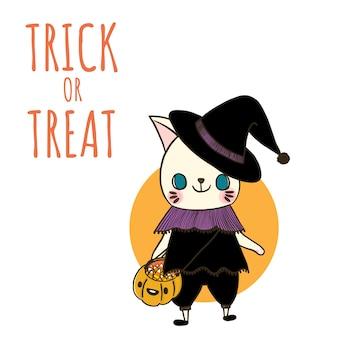 Halloween. des bonbons ou des friandises avec un chat portant une sorcière en costume.
