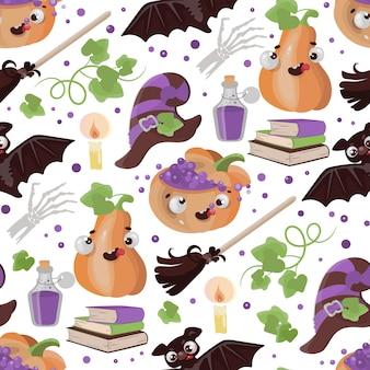 Halloween broom pumpkin funny cartoon hand drawn seamless pattern