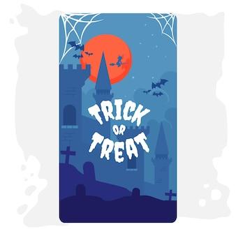 Halloween carte voeux illustration château