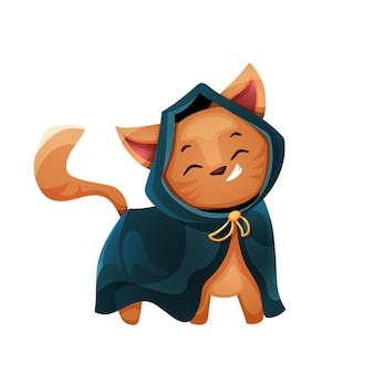 Halloween cat costume party chat mignon dans un chapeau de sorcière pour votre conception isolé sur fond blanc