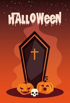 Halloween avec cercueil et icônes
