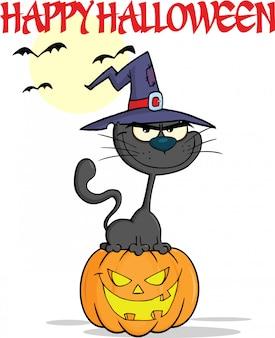 Halloween chat noir avec un chapeau de sorcière sur la bande dessinée citrouille