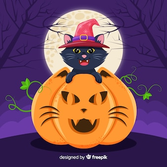 Halloween chat noir en citrouille avec la pleine lune