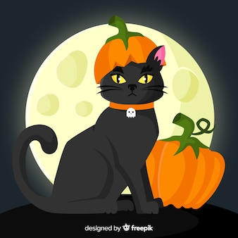 Halloween chat noir avec un design plat