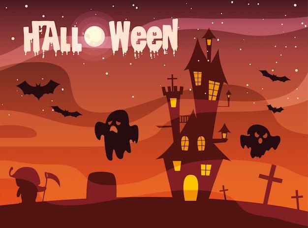 Halloween avec château et fantômes