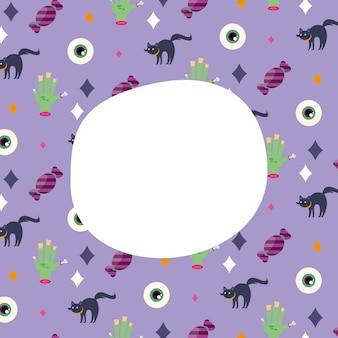 Halloween chats yeux et mains fond de dessins animés avec un espace pour la conception de texte, thème effrayant