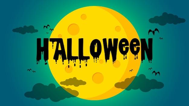 Halloween et chauves-souris devant l'abstrait de la lune