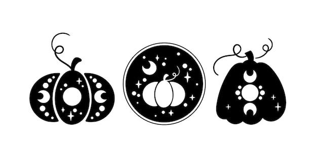 Halloween citrouille céleste clipart silhouette citrouille magique d'automne vecteur de citrouilles de thanksgiving
