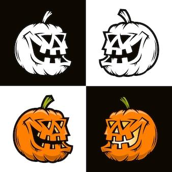 Halloween citrouille drôle en demi-tour