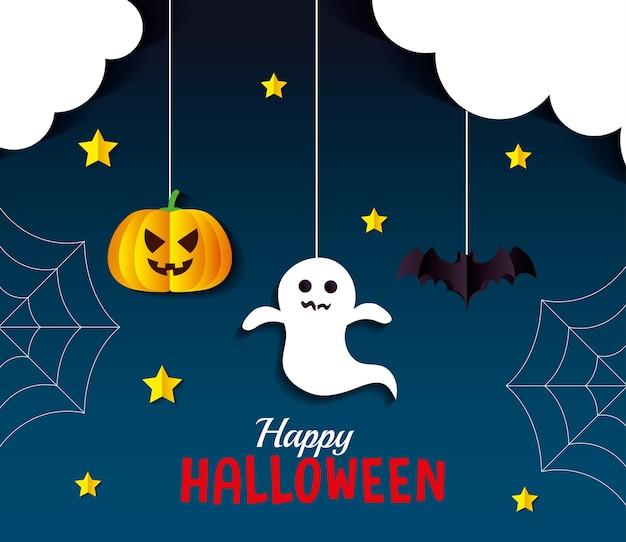 Halloween citrouille fantôme et dessins animés de chauve-souris suspendus design, vacances et thème effrayant
