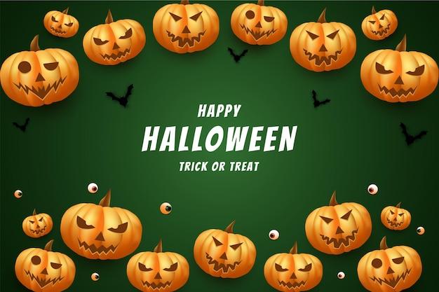 Halloween avec des citrouilles a l'air réel et effrayant