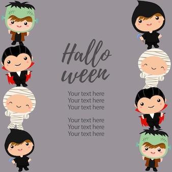 Halloween costume de bordure verticale enfants