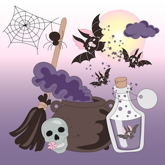 Halloween couleur vector illustration set halloween horreur nuits