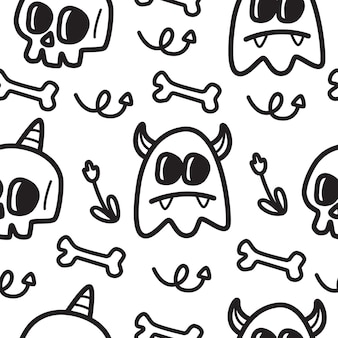 Halloween dessin animé doodle illustration de conception de modèle kawaii