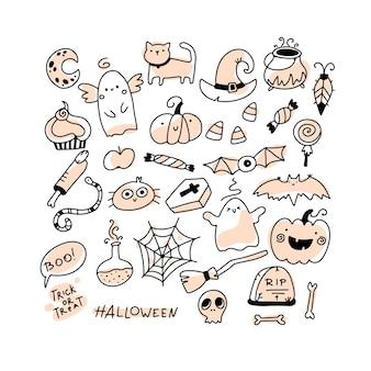 Halloween doodle définit des personnages de vacances et des éléments horribles dans un simple dessin animé dessiné à la main