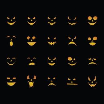 Halloween effrayant citrouille visage vector illustration set