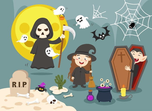 Halloween enfants costume fête illustration vecteur