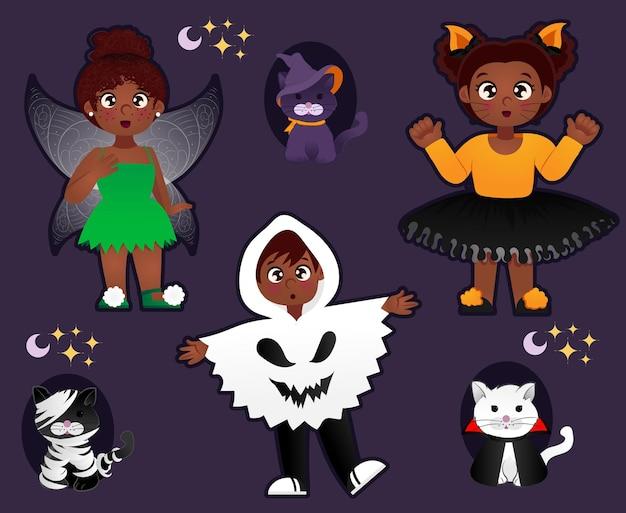 Halloween ensemble d'enfants et de chats isolés sur violet