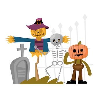 Halloween épouvantail crâne et dessin animé de citrouille, joyeuses fêtes et effrayant