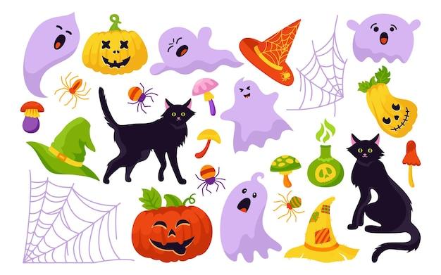 Halloween fête horreur dessin animé ensemble magie sorcière chaudron chauve-souris champignon assistant potion poison bouteille