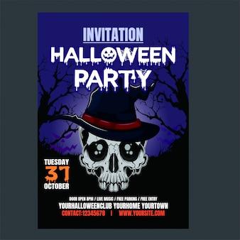 Halloween fête nuit fond vertical avec crâne