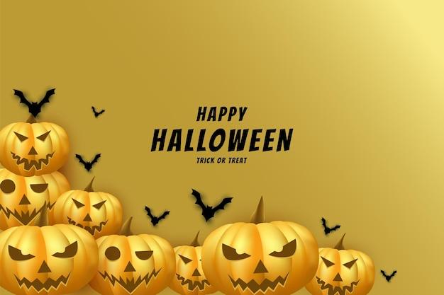 Halloween avec un fond de citrouille effrayant et qui se chevauchent