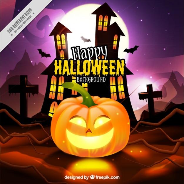 Halloween fond de la citrouille et de maison hantée