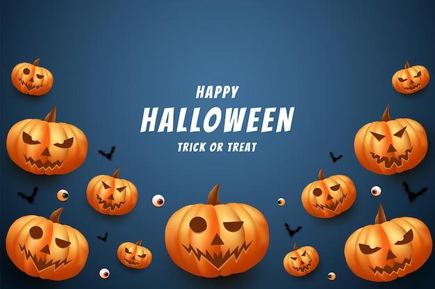 Halloween avec un fond de citrouilles et de bonbons éparpillés