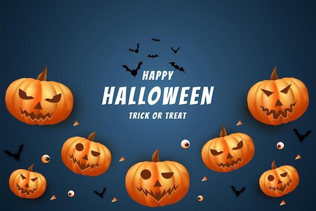 Halloween avec un fond de citrouilles effrayantes