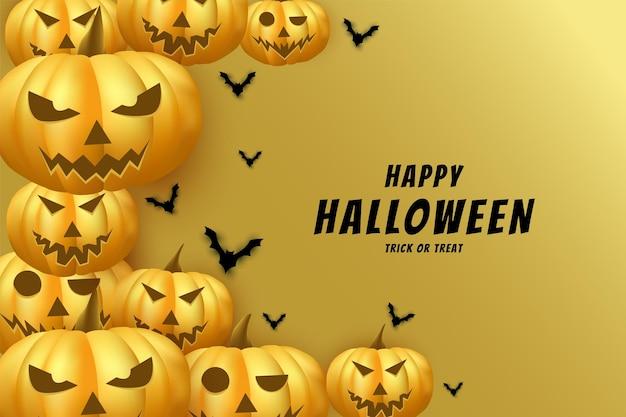 Halloween avec fond de citrouilles empilés sur le côté avec effet de lumière