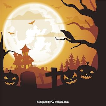 Halloween fond avec des citrouilles et maison hantée