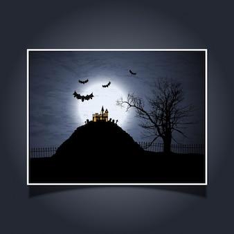 Halloween fond avec la maison fantasmagorique et les chauves-souris