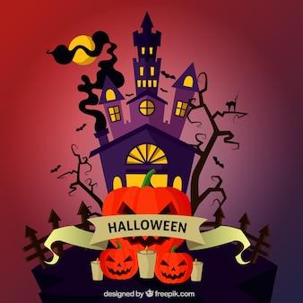 Halloween fond avec maison hantée