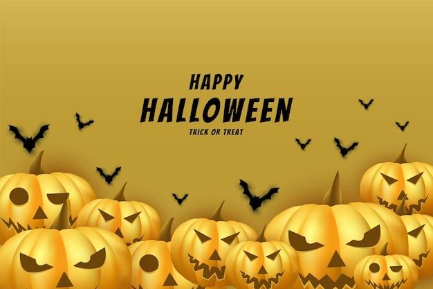 Halloween avec un fond de plusieurs formes différentes de visage de citrouille