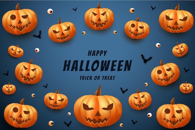 Halloween avec fond de vecteur de citrouille effrayant entourant le lettrage