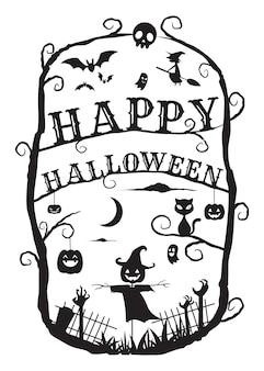 Halloween frame art: épouvantail