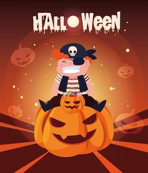 Halloween avec un garçon déguisé en pirate