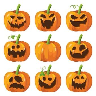 Halloween grand ensemble avec des citrouilles. visage de citrouille d'halloween
