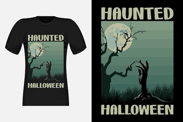 Halloween hanté avec un design de t-shirt rétro vintage à la main